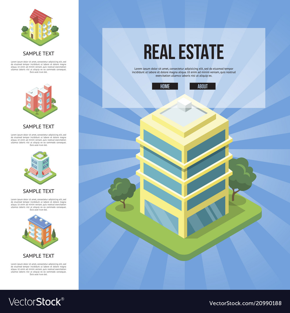 Commercial Real Estate In Town Banner Royalty Free Vector