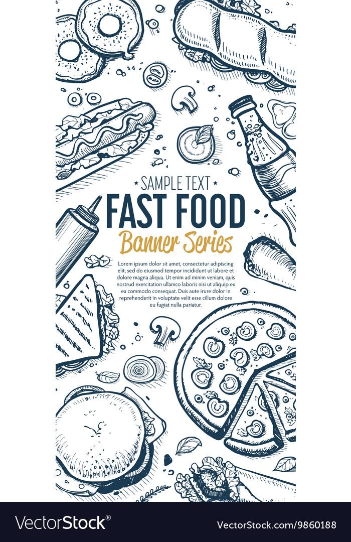 Fast Food Doodles Vertical Banner Menu Royalty Free Vector