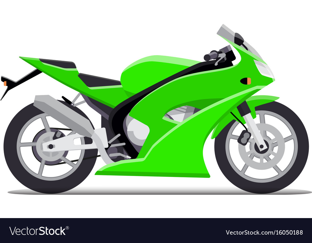 Green sports motorbike flat isolated on