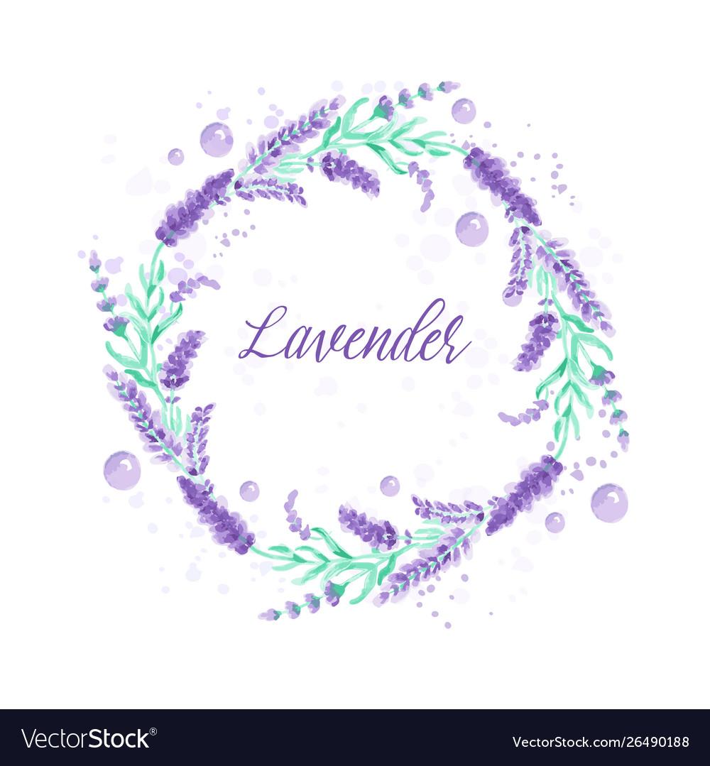 Lavender wreath watercolor imitation design