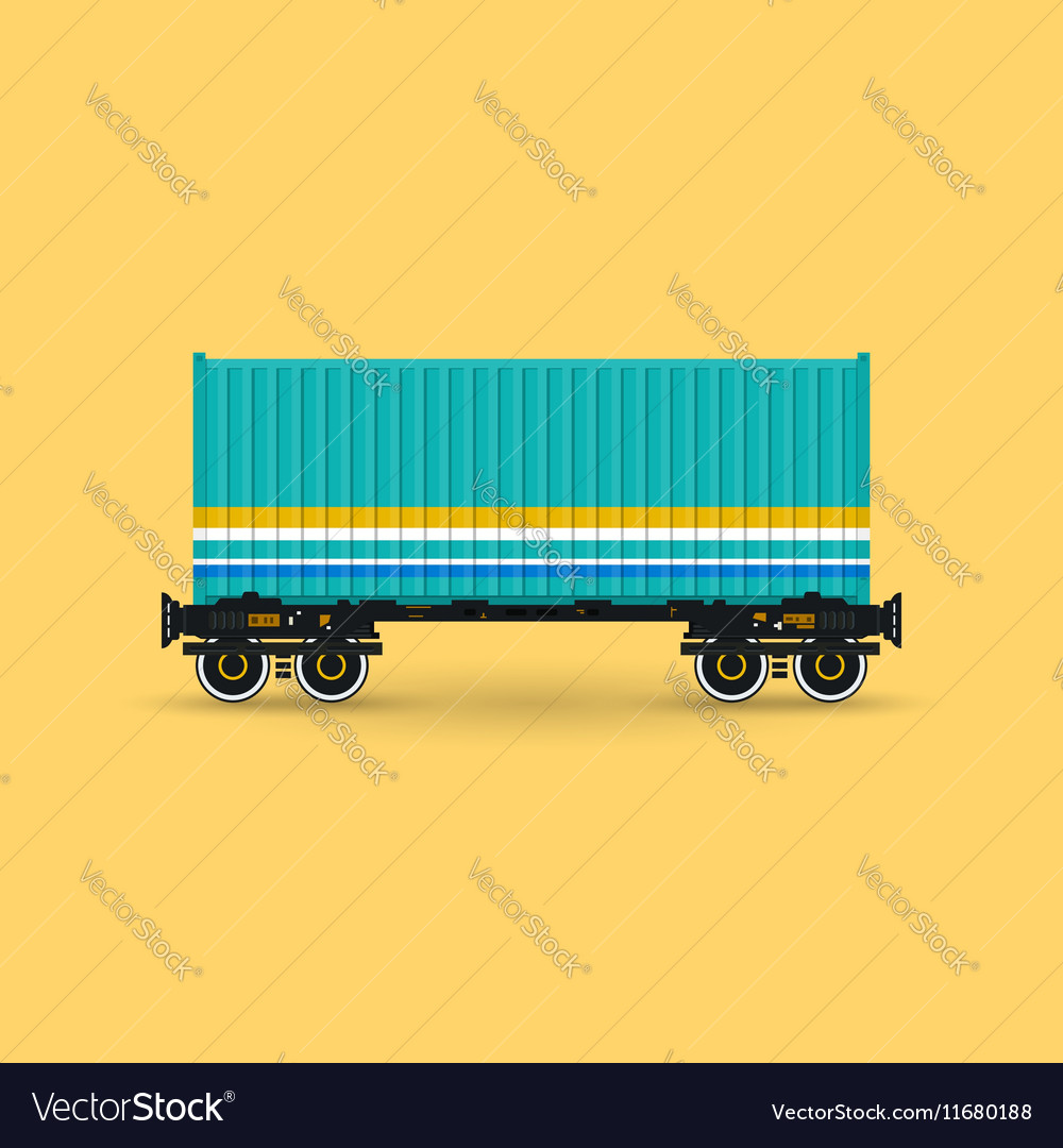 Platform with Green Container Isolated vector image