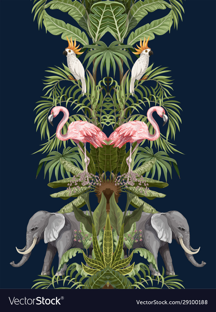 Seamless pattern with tropical animals in jungle