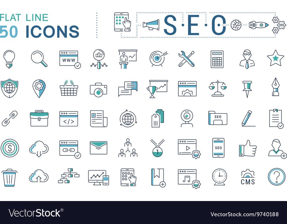 Set Flat Line Icons SEO