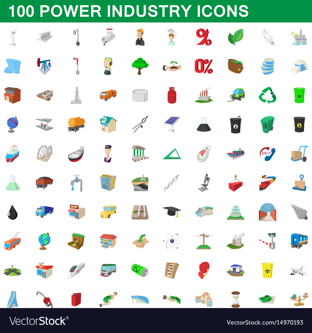 100 power industry icons set cartoon style