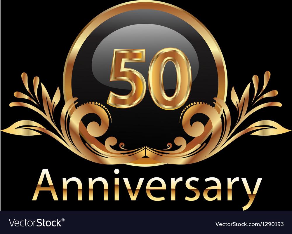 50 Years Anniversary Birthday In Gold Vector Image