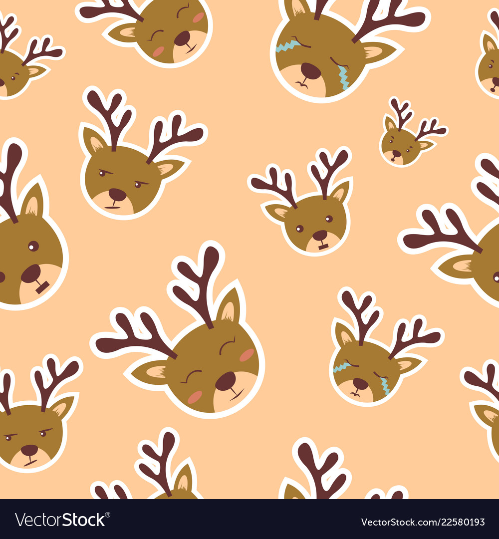 Background pattern deer with various funny