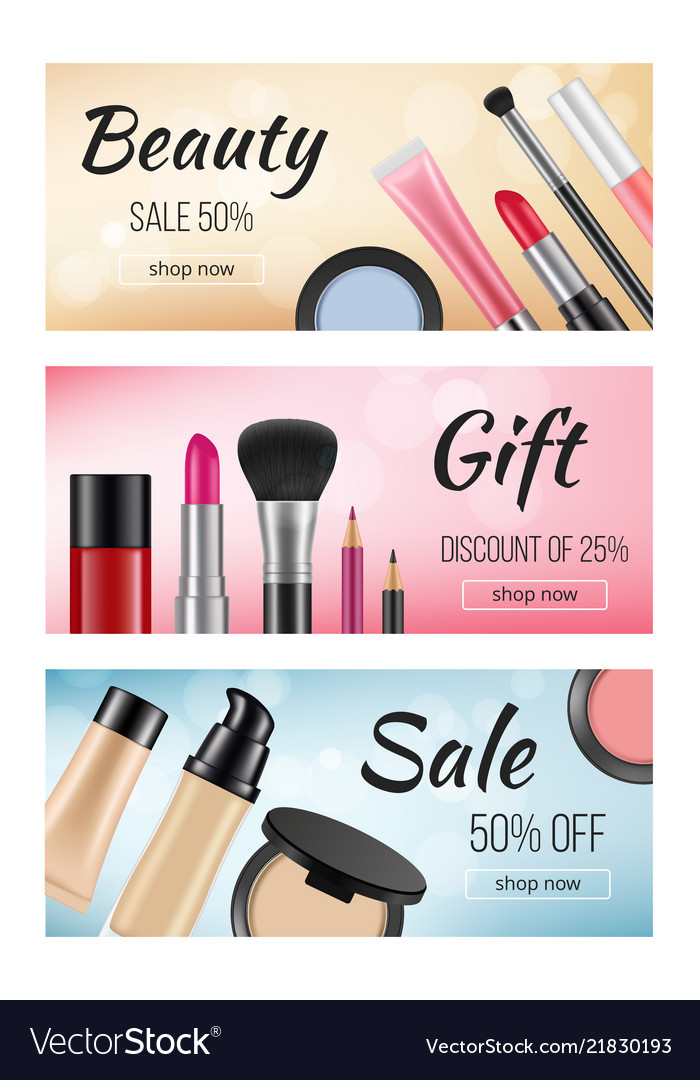 Banners Of Cosmetics Design Template Of Royalty Free Vector