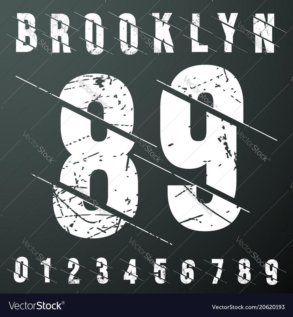 Brooklyn numbers vintage t-shirt stamp