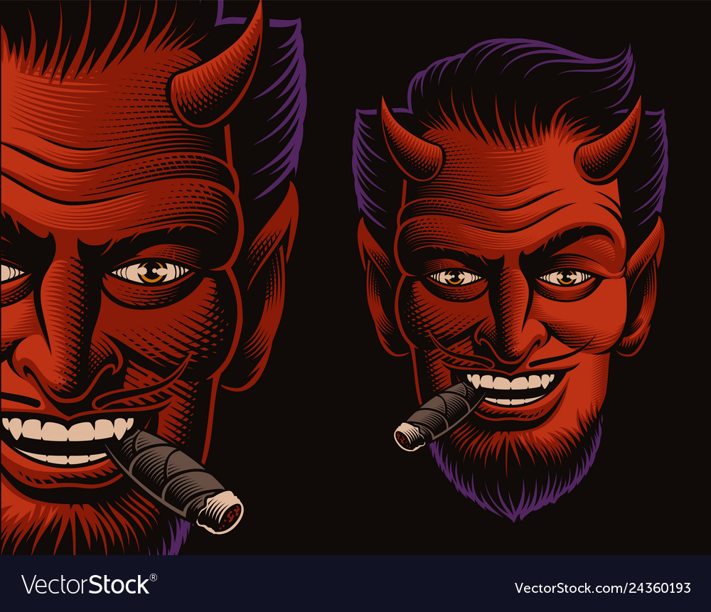 Coloured a devil face smoking a cigar