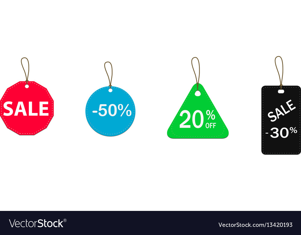 Four colored price tags