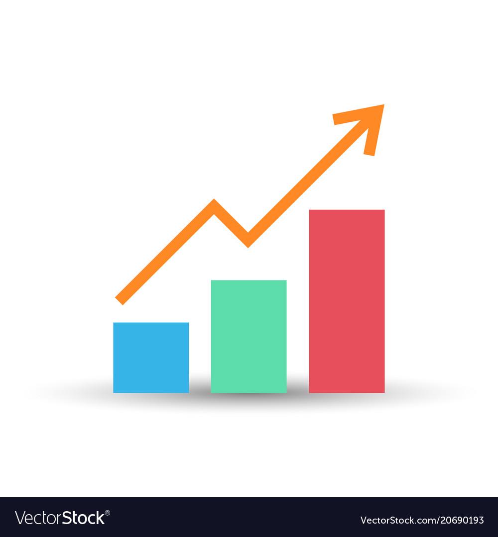 Growing bar graph flat icon