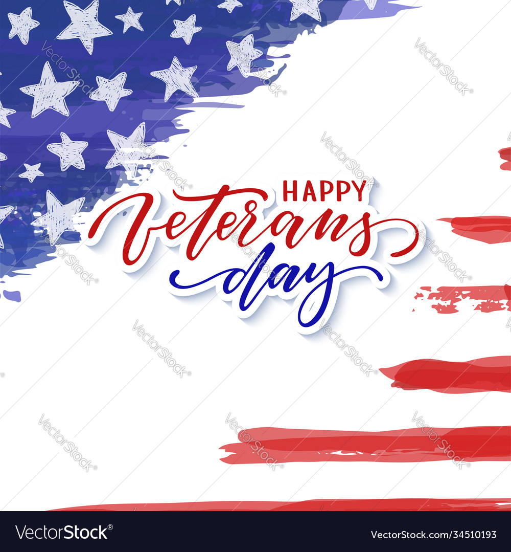 Happy veterans day typography card modern black