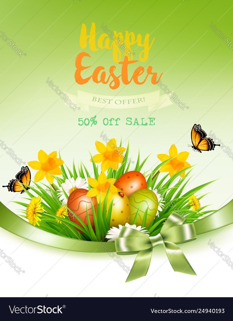 Holiday easter background with a colorful eggs