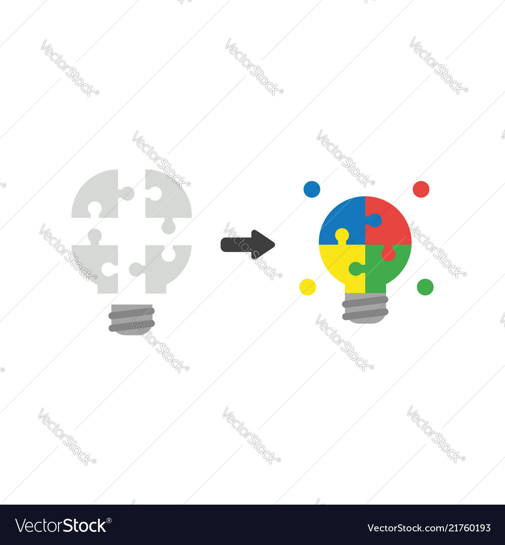 Icon concept of light bulb jigsaw puzzle pieces
