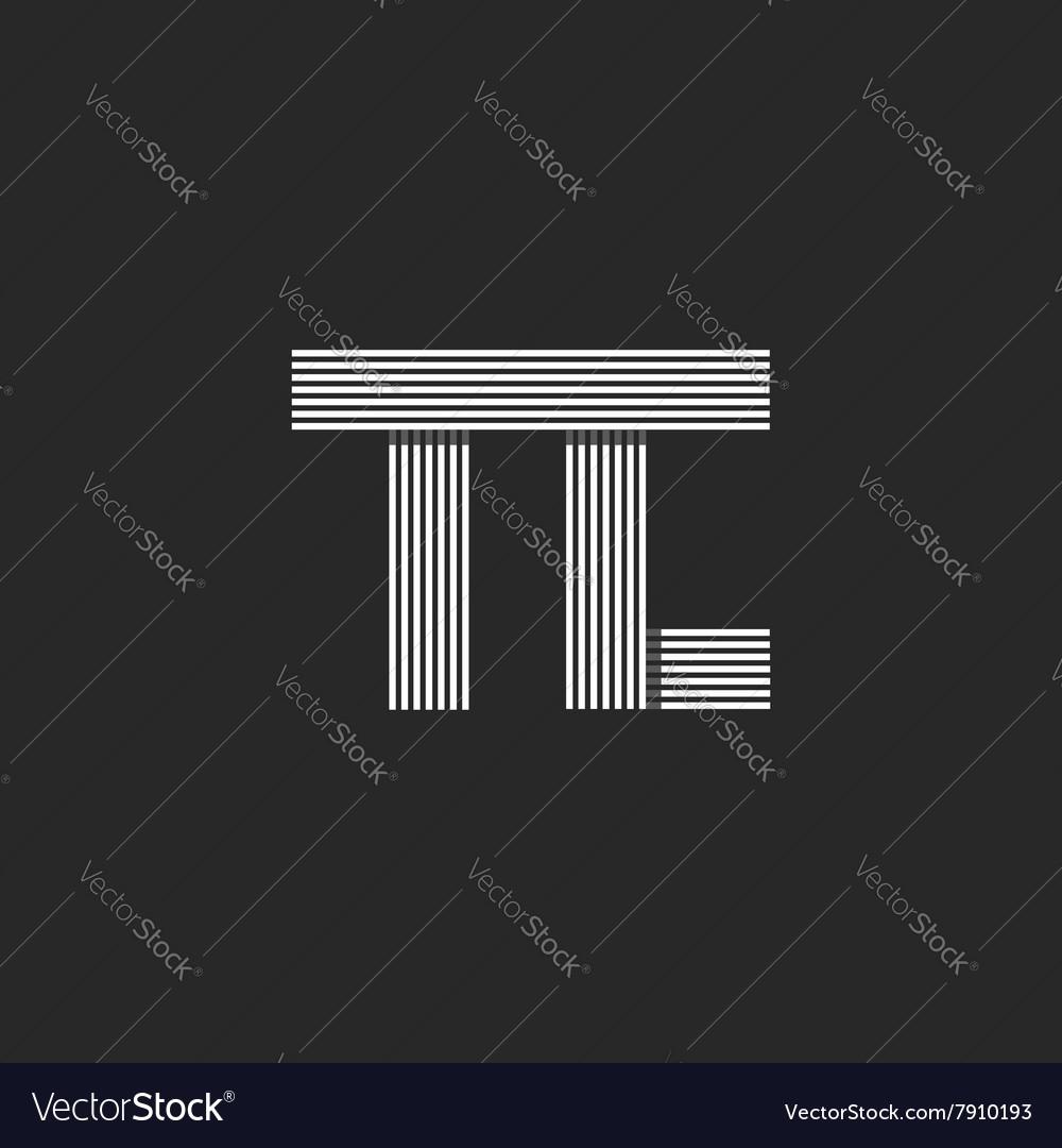 Initials wedding invitation mockup tc letters vector image stopboris Images