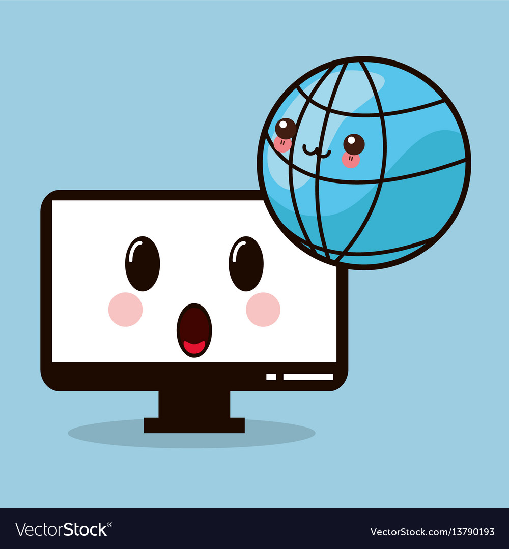 Kawaii computer monitor global vector image