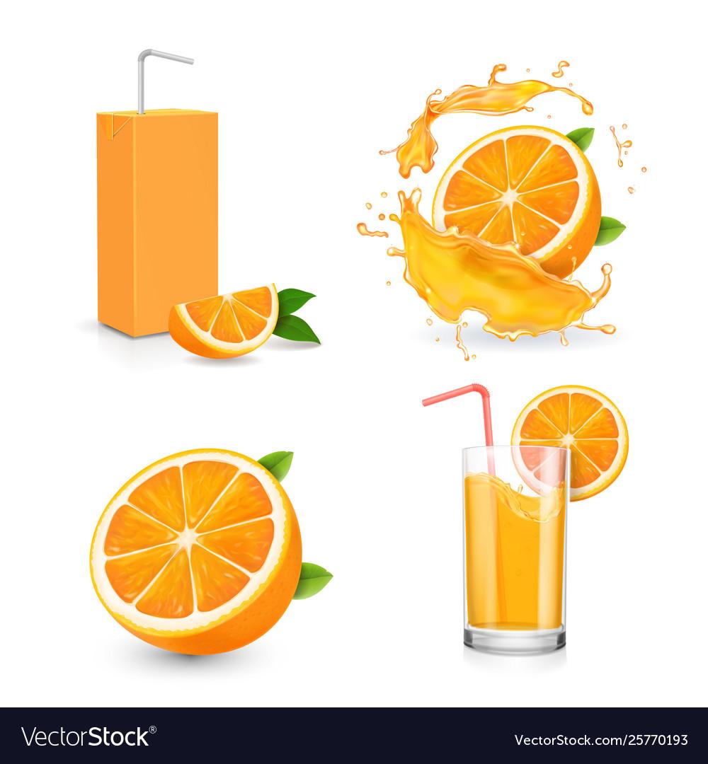 Orange juice isolated icons on white background