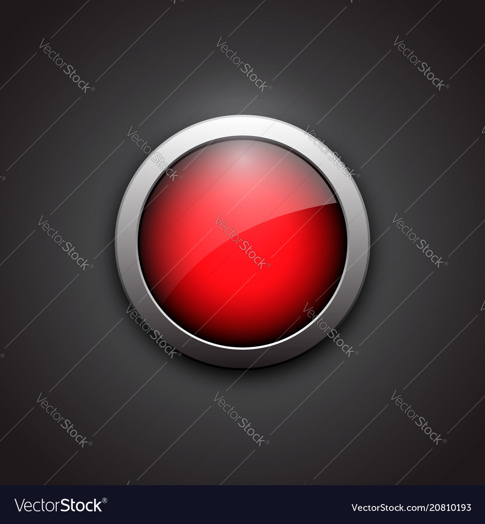 Red shiny button with metallic elements button