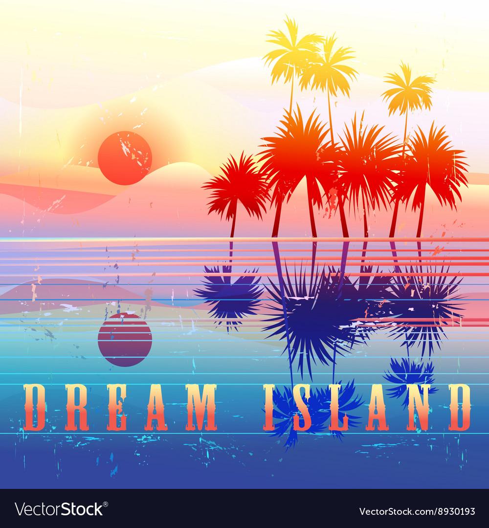 Retro colorful island paradise