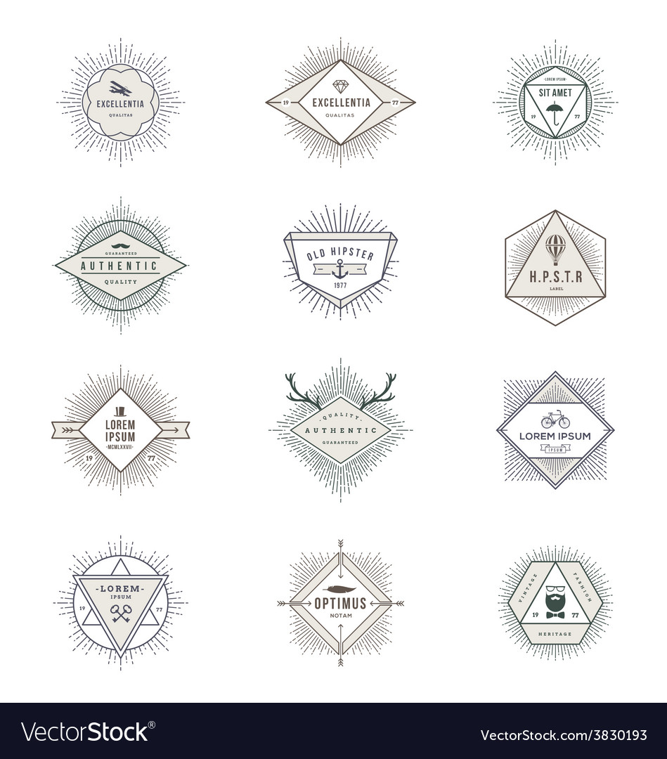 Set of hipster sunburst line signs and emblems