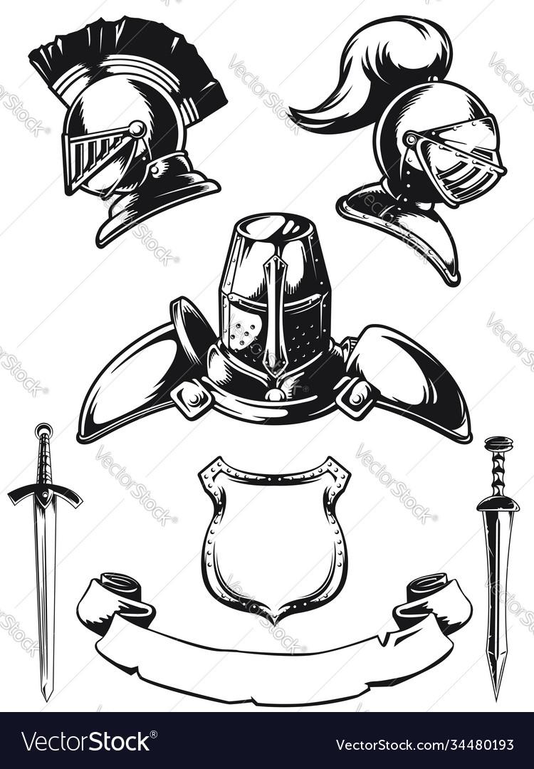 Silhouette medieval knight helmet engraving