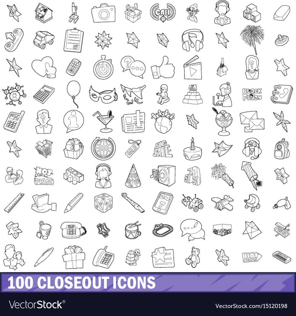 100 closeout icons set outline style