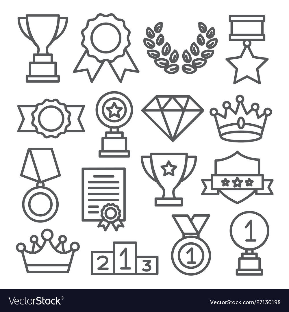 Awards line icons set on white background