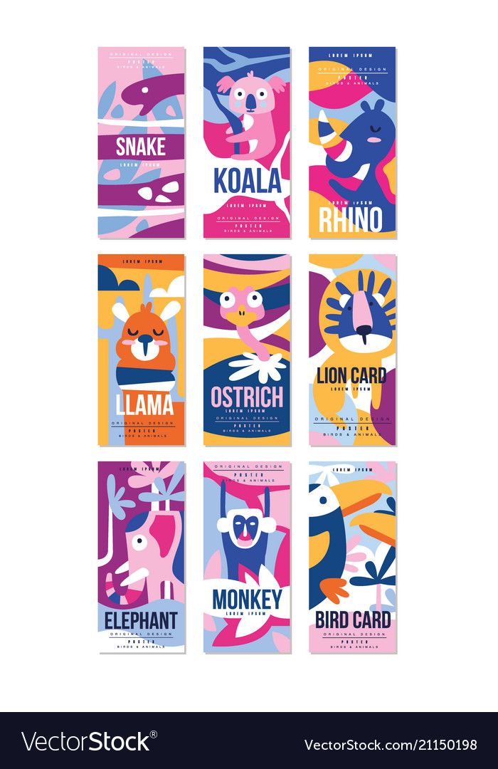 Birds and animals poster set design element with