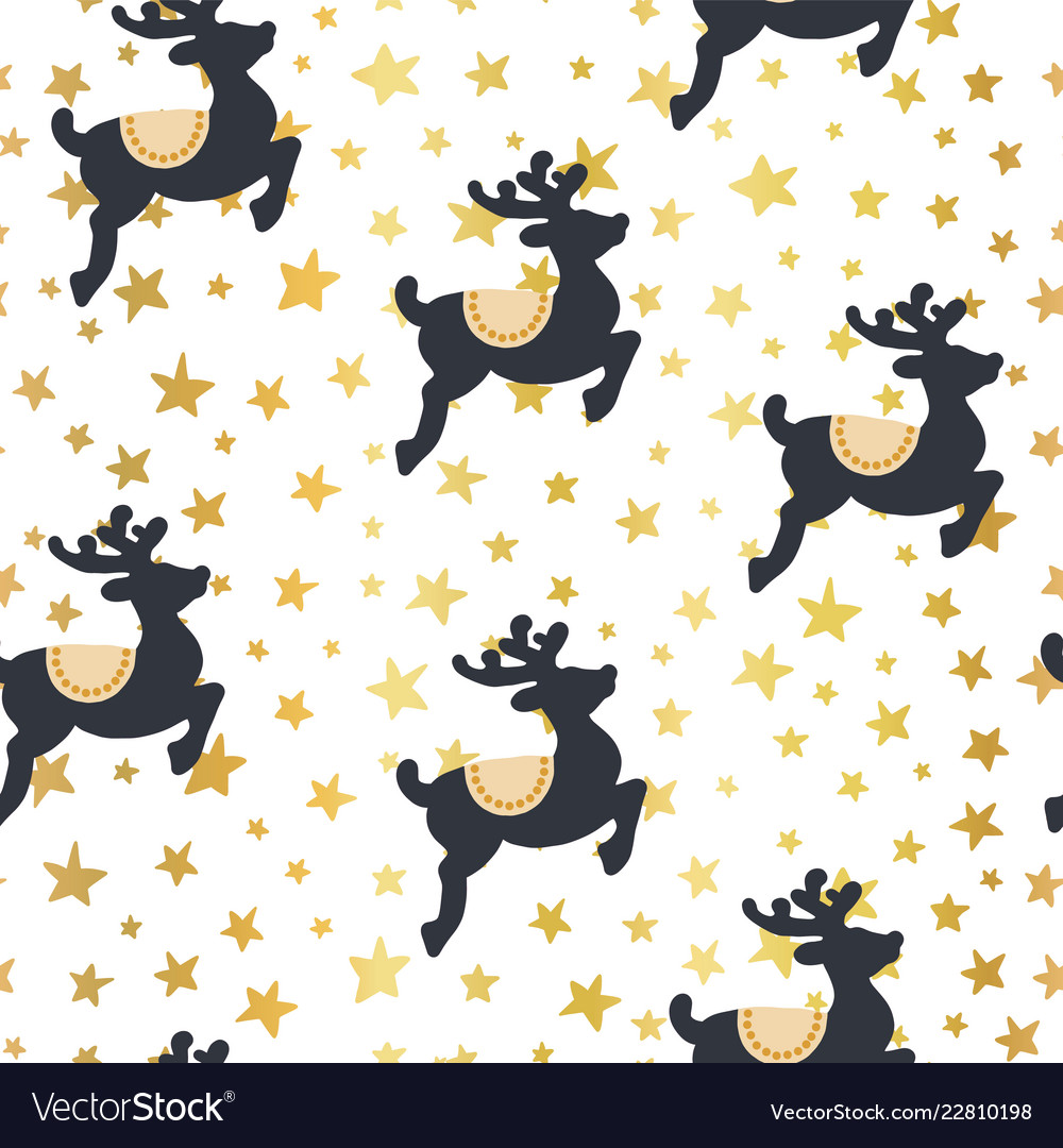 Christmas pattern reindeer and gold stars