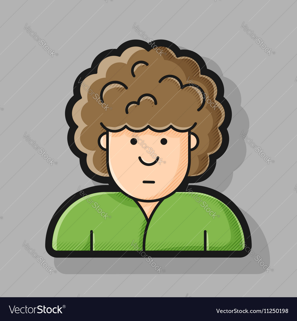 Contour icon Man with curly hairstyle on her head