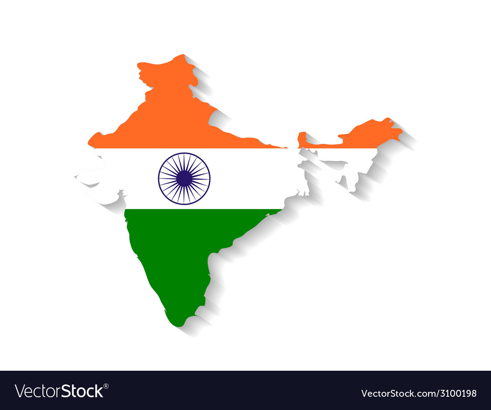India Map Flag.India Flag Map With Shadow Effect Royalty Free Vector Image