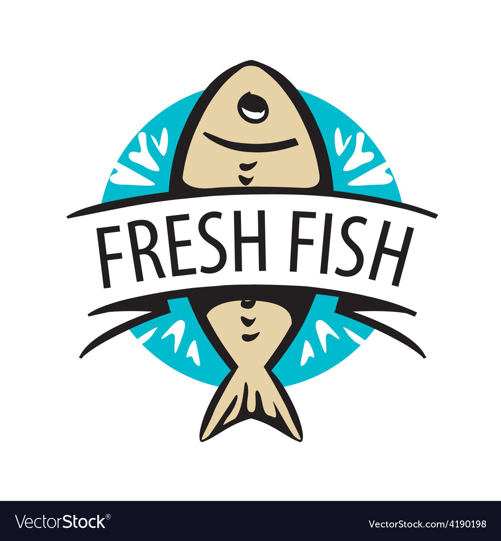 Logo fresh fish in a circle and tape
