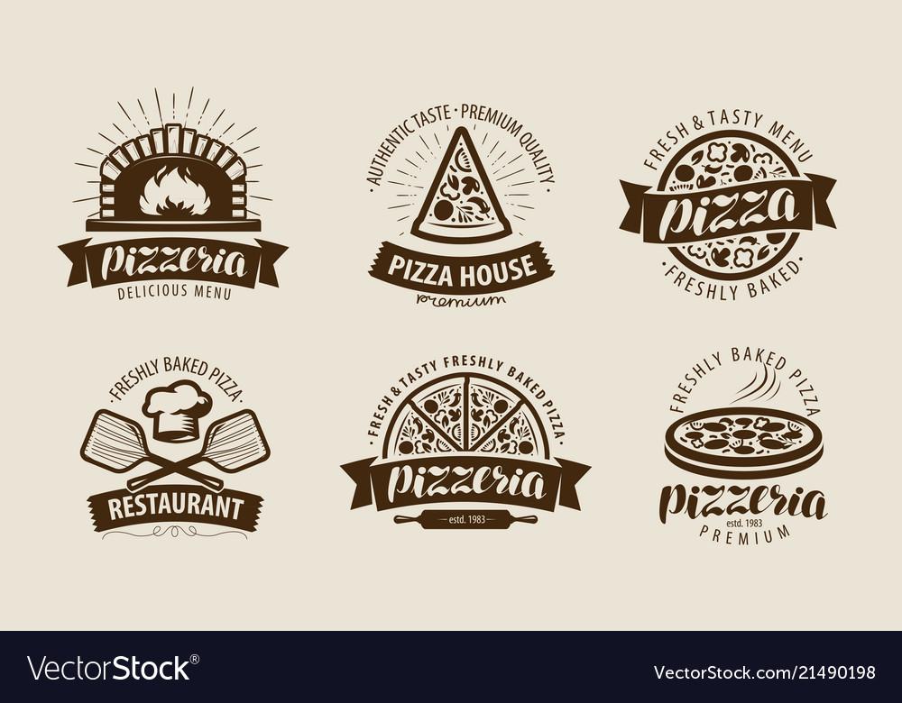 Pizza pizzeria logo or label food symbol set