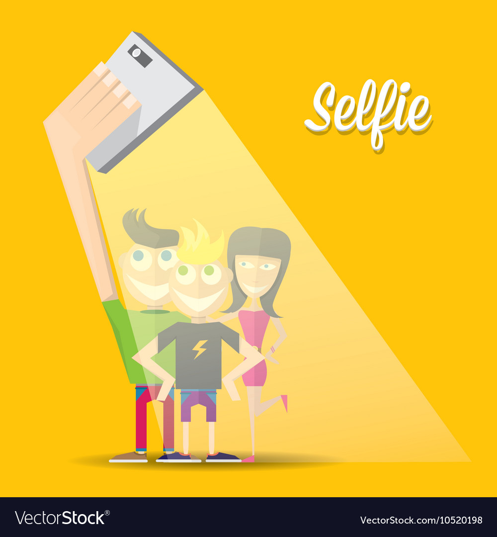 Taking Selfie Photo on Smart Phone concept vector image