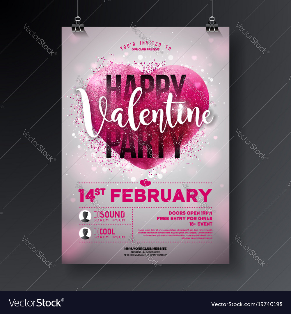 valentines day party flyer with royalty free vector image