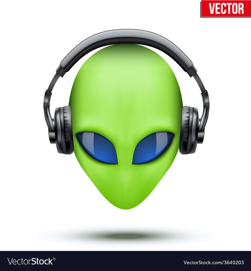 Alien head with headphones