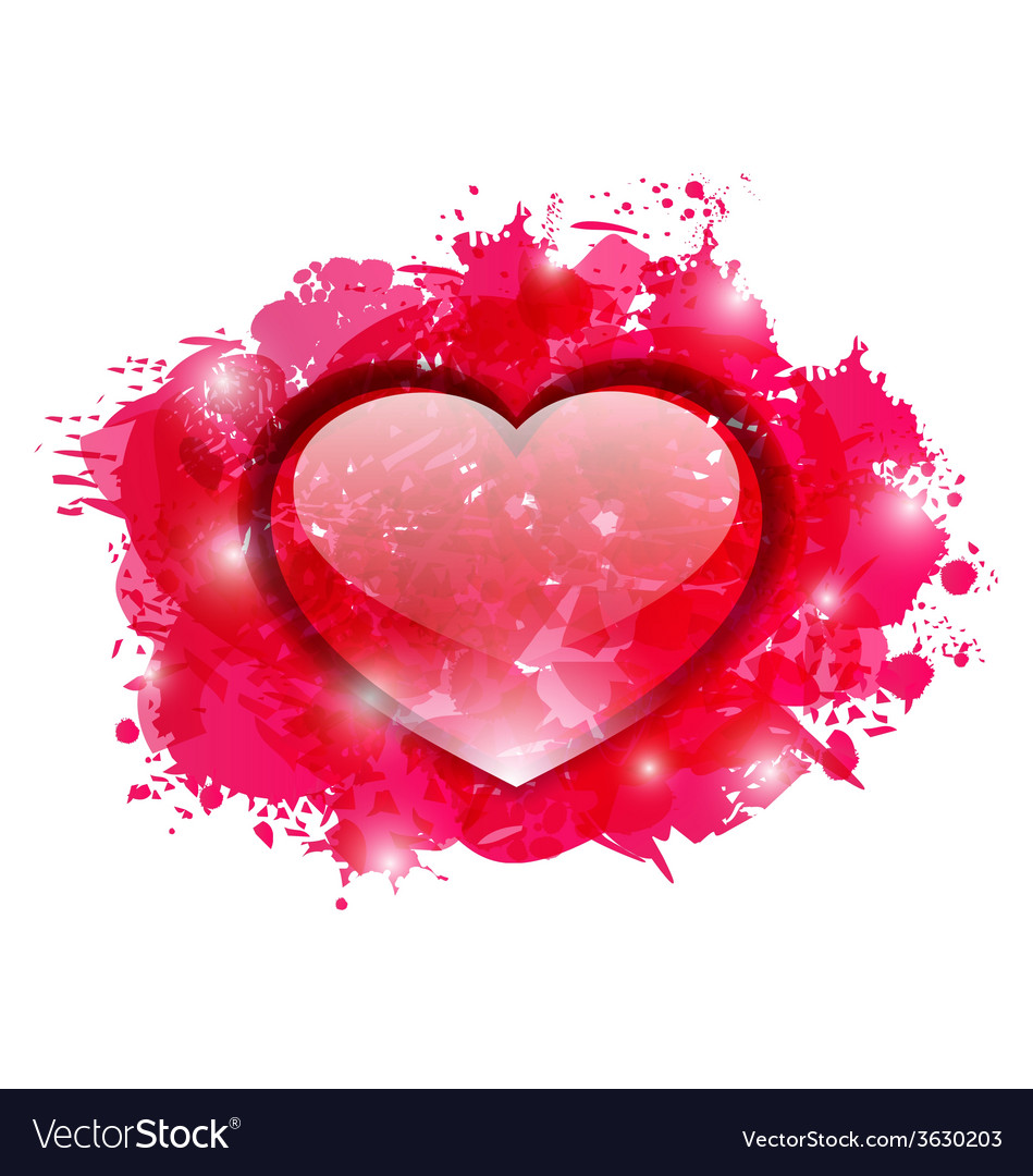 Beautiful glassy heart on grunge pink blobs for vector image