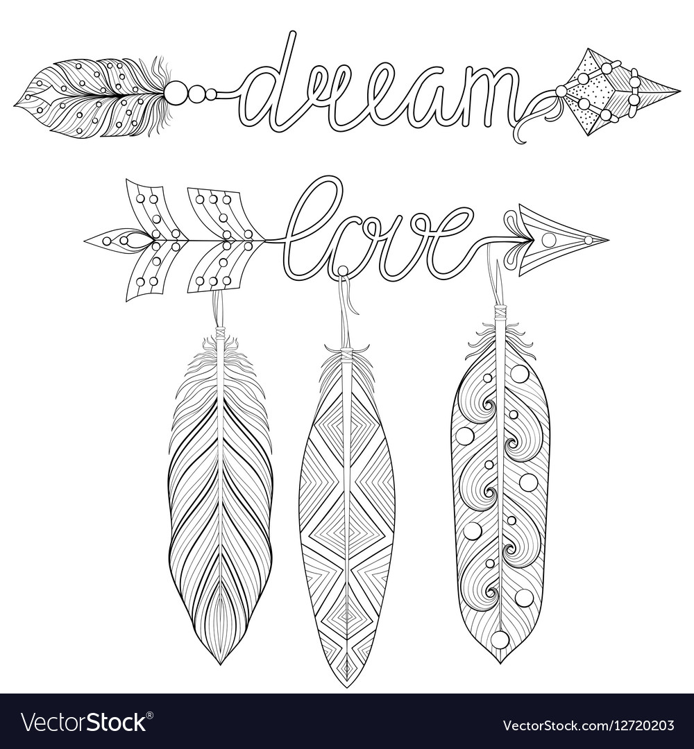 Bohemian Dream love Arrows set with feathers for