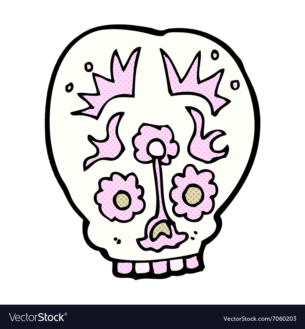 Comic cartoon sugar skull