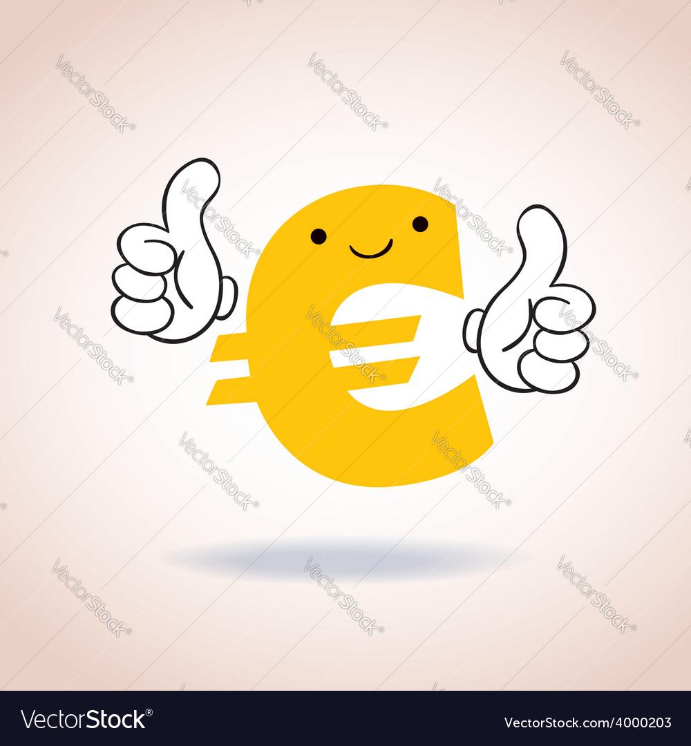 Euro Sign Thumbs Up Mascot Cartoon Character Vector Image