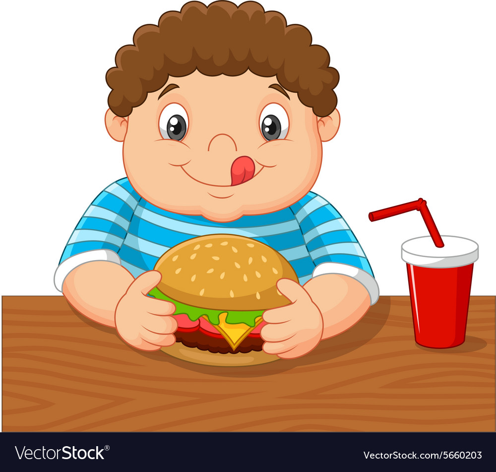 Fat boy smiling and ready to eat a big hamburger vector image