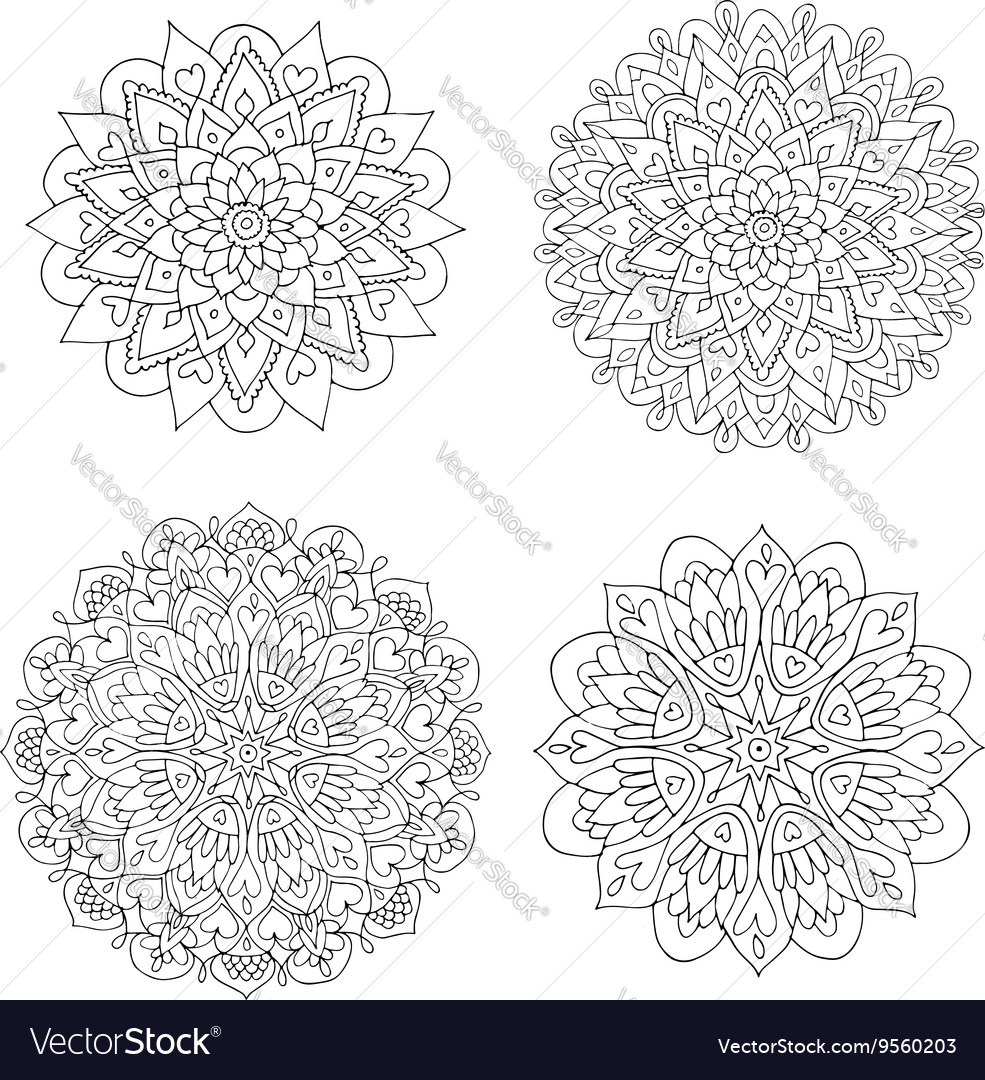 Mandala set colorful pattern for your design vector image