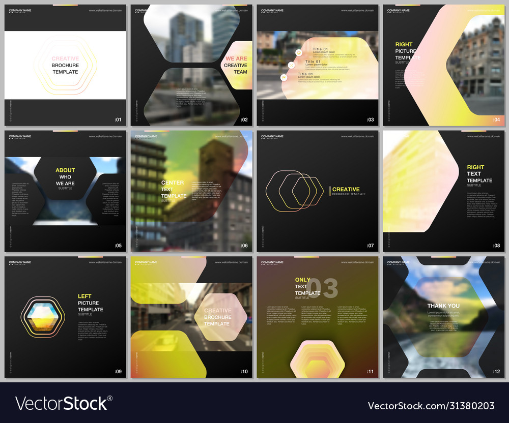 Minimal brochure templates with hexagonal design vector
