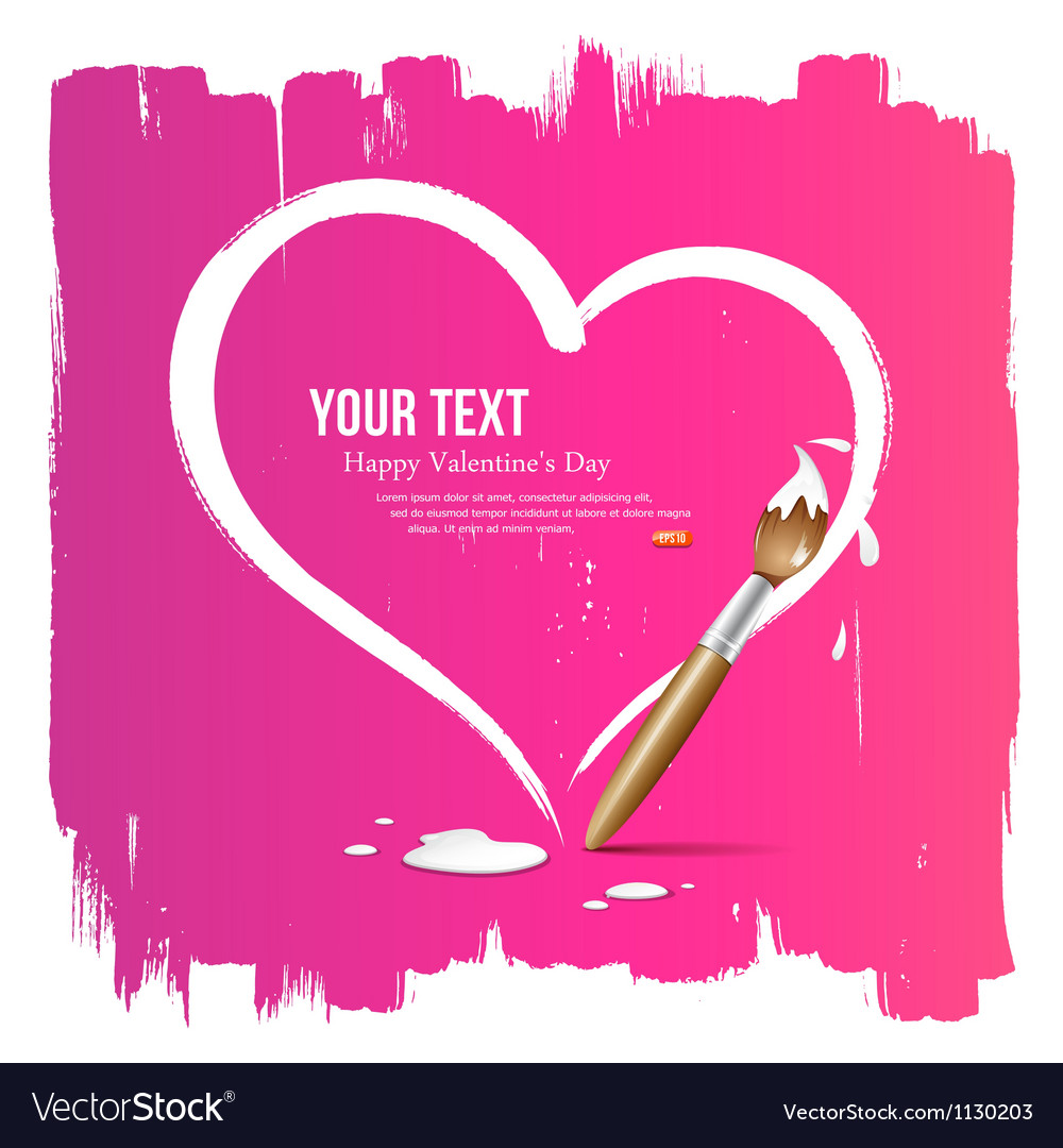 Paint brush heart shape on pink background vector image