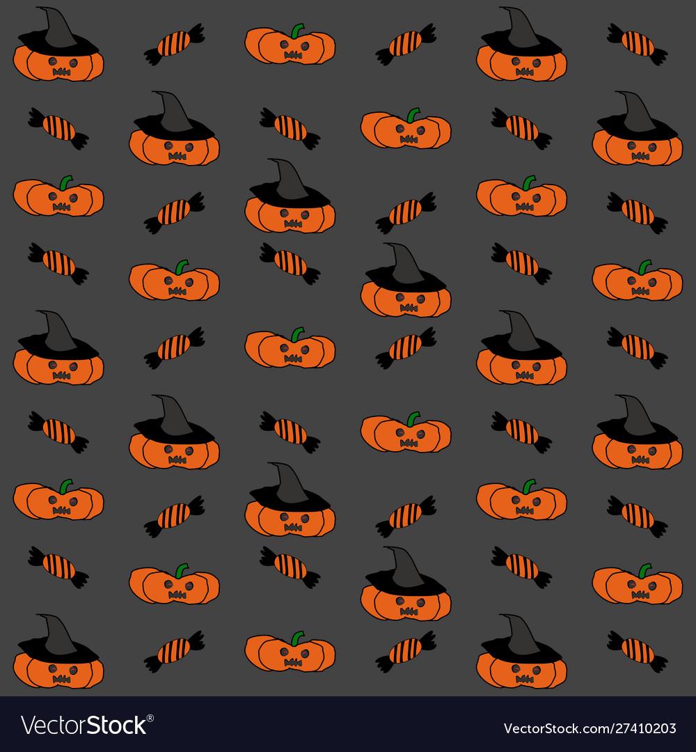 Seamless halloween pattern with pumpkins on black