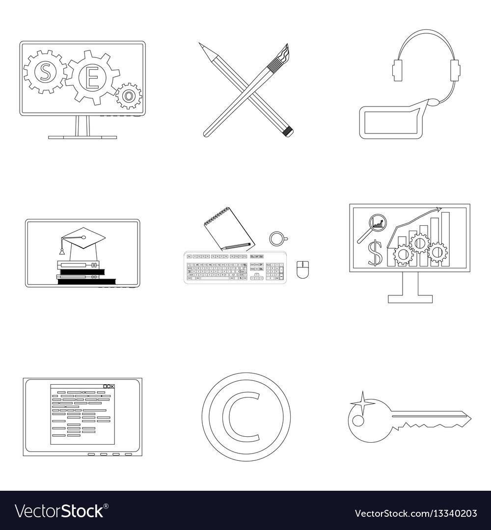Seo icon linear set
