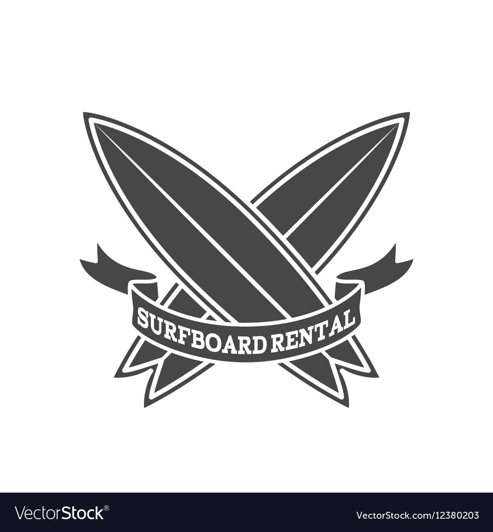 surfboard rental logo design surfing logotype vector image