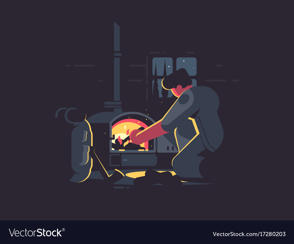 Traveler man warm by furnace vector image