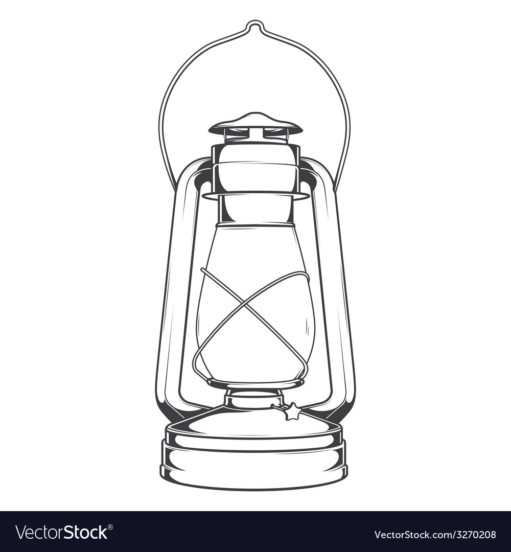 Antique Old Kerosene Lamp vector image