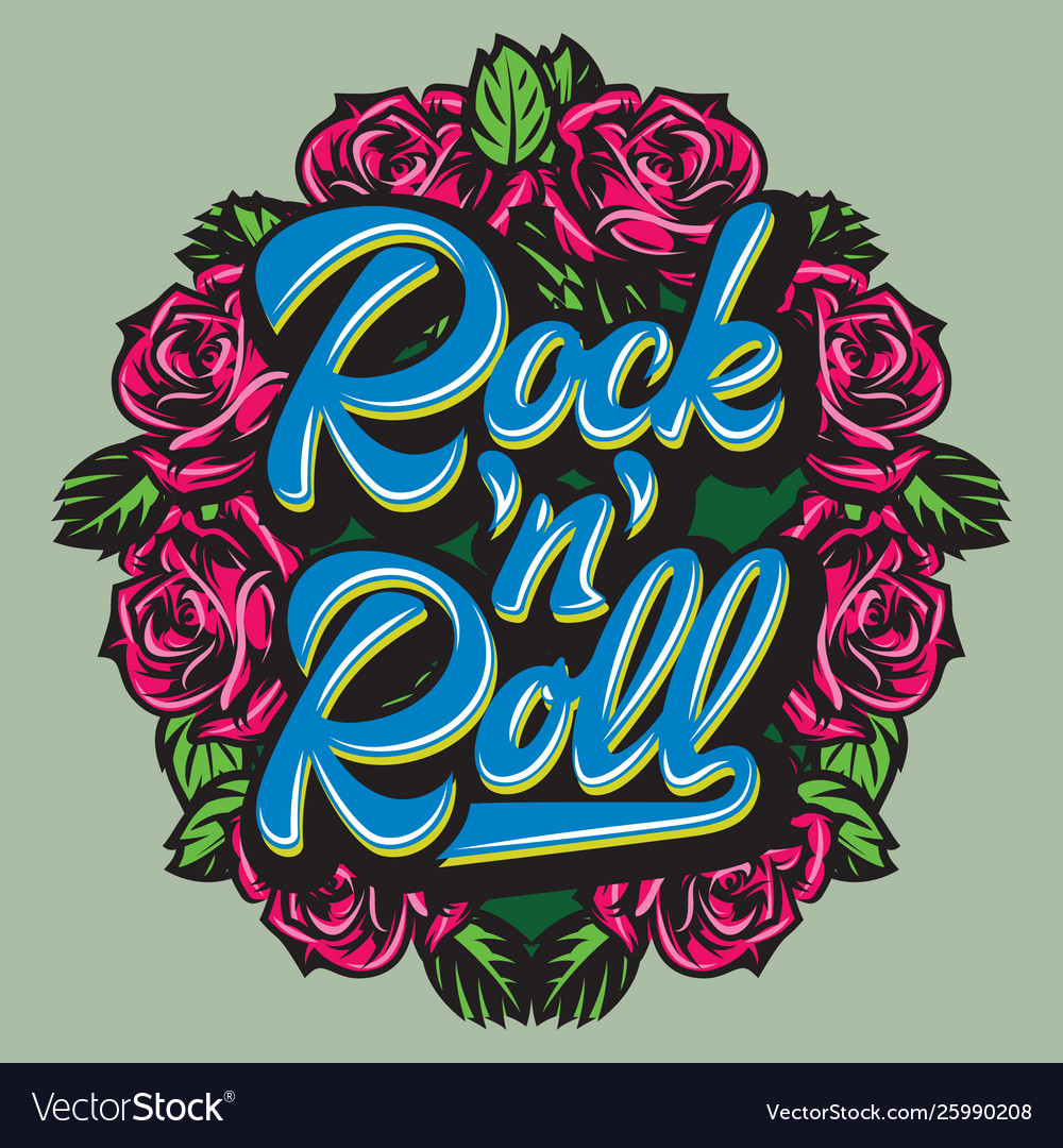 Calligraphic lettering rock and roll in a frame